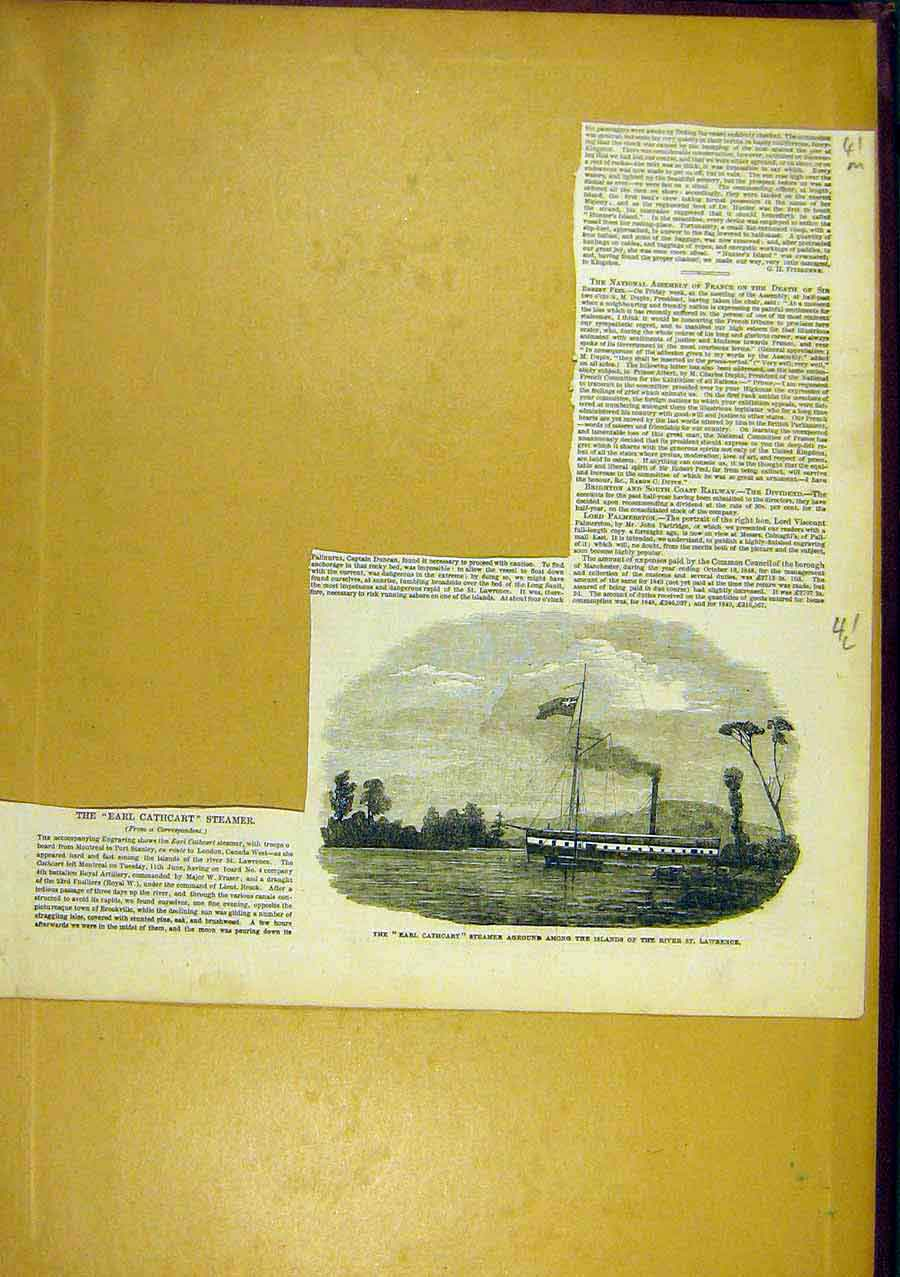 Print Earl-Cathcart Steamer St-Lawrence 1850 41Lccc0 Old Original