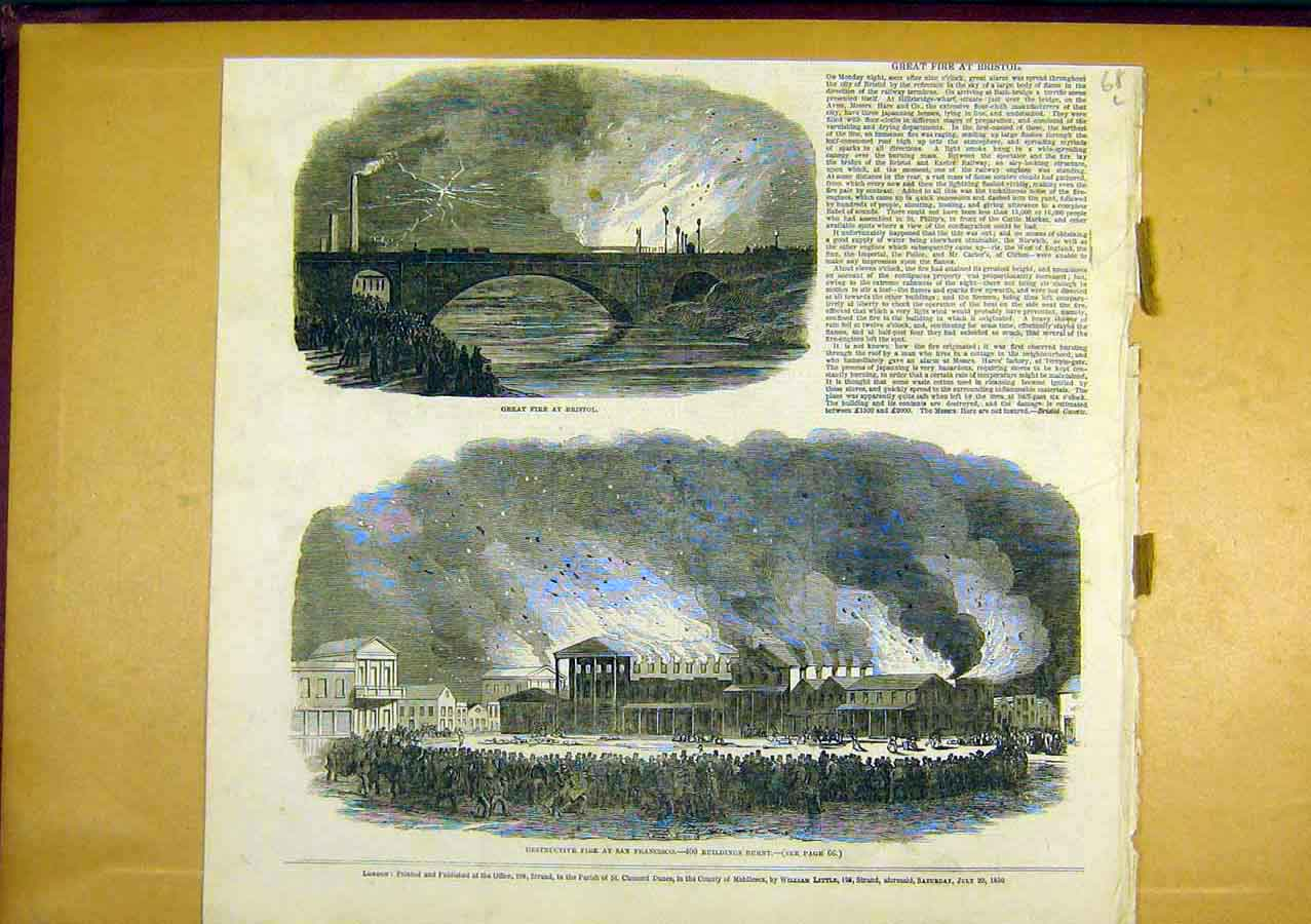 Print Fire San Francisco Building Bristol 1850 68Lccc0 Old Original