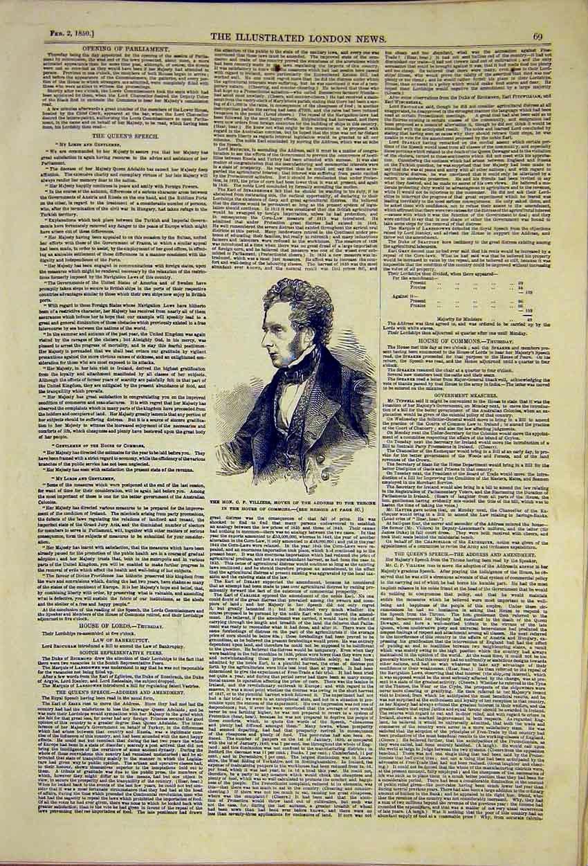 Print Queens Speech Portrait Villiers Commons 1850 69Ccc0 Old Original