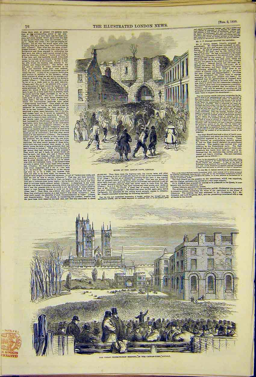Print Castle Gate Yard Lincoln Protectionist 1850 72Ccc0 Old Original
