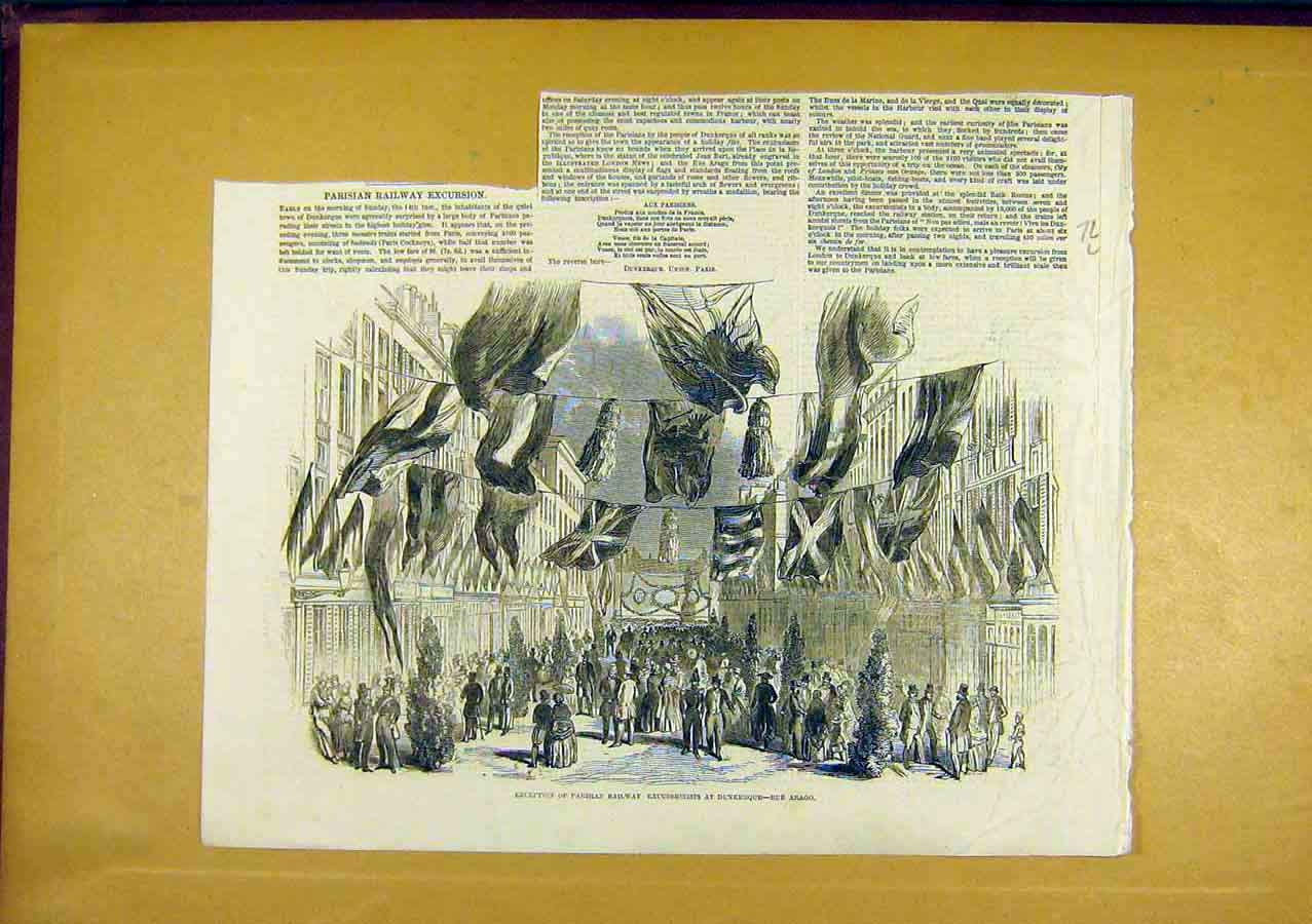 Print Paris Railway Dunkerque People 1850 Station 72Lccc0 Old Original