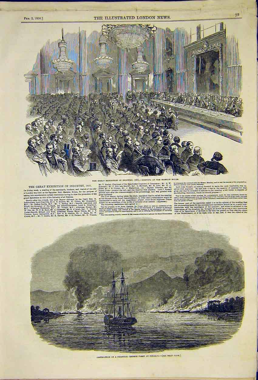 Print Exhibition Industry Mansion House Meeting Pinghoy 1850 73Ccc0 Old Original