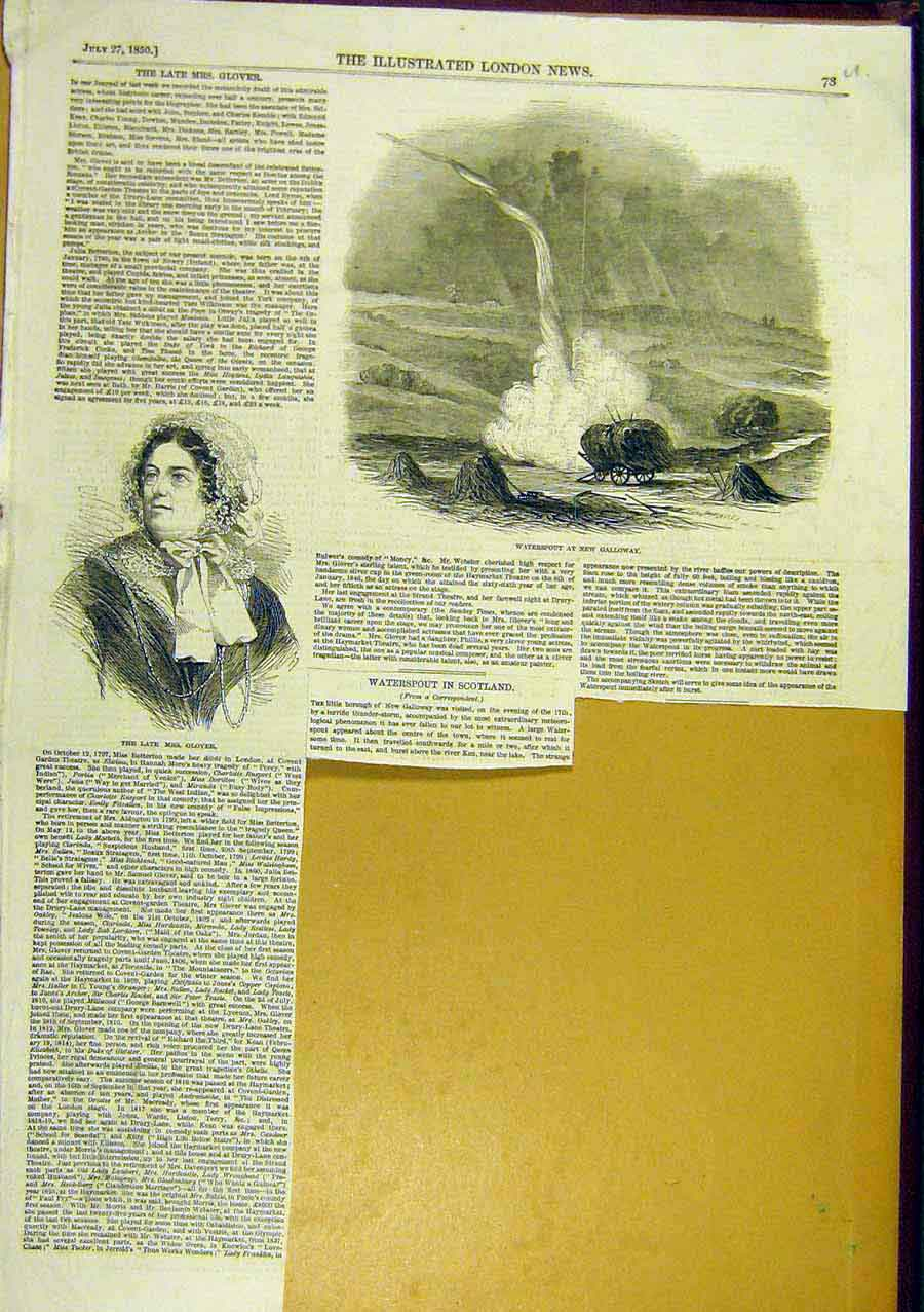 Print Waterspout New-Galloway Scotland Glover 1850 73Uccc0 Old Original