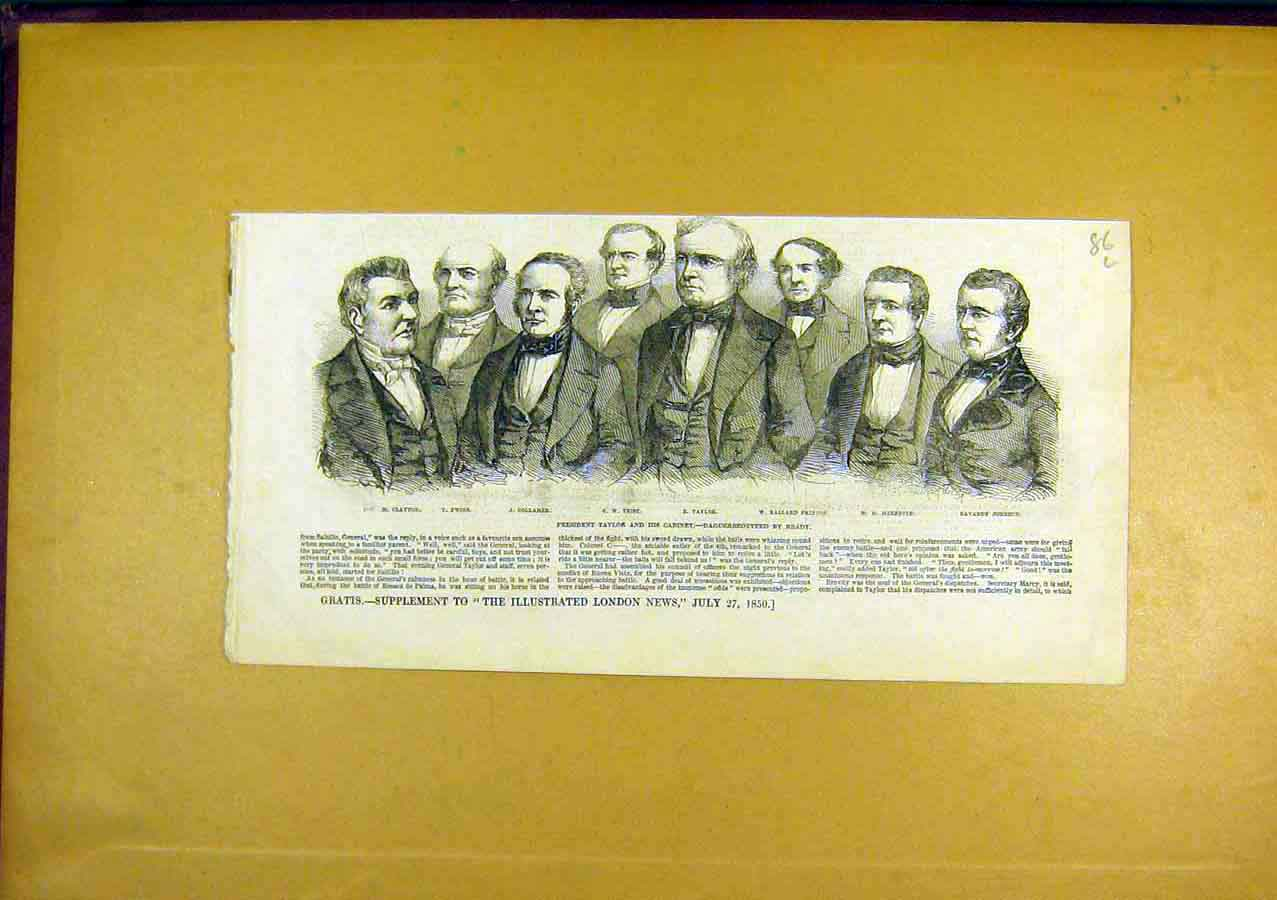 Print President Taylor Cabinet Portrait United States 1850 86Lccc0 Old Original