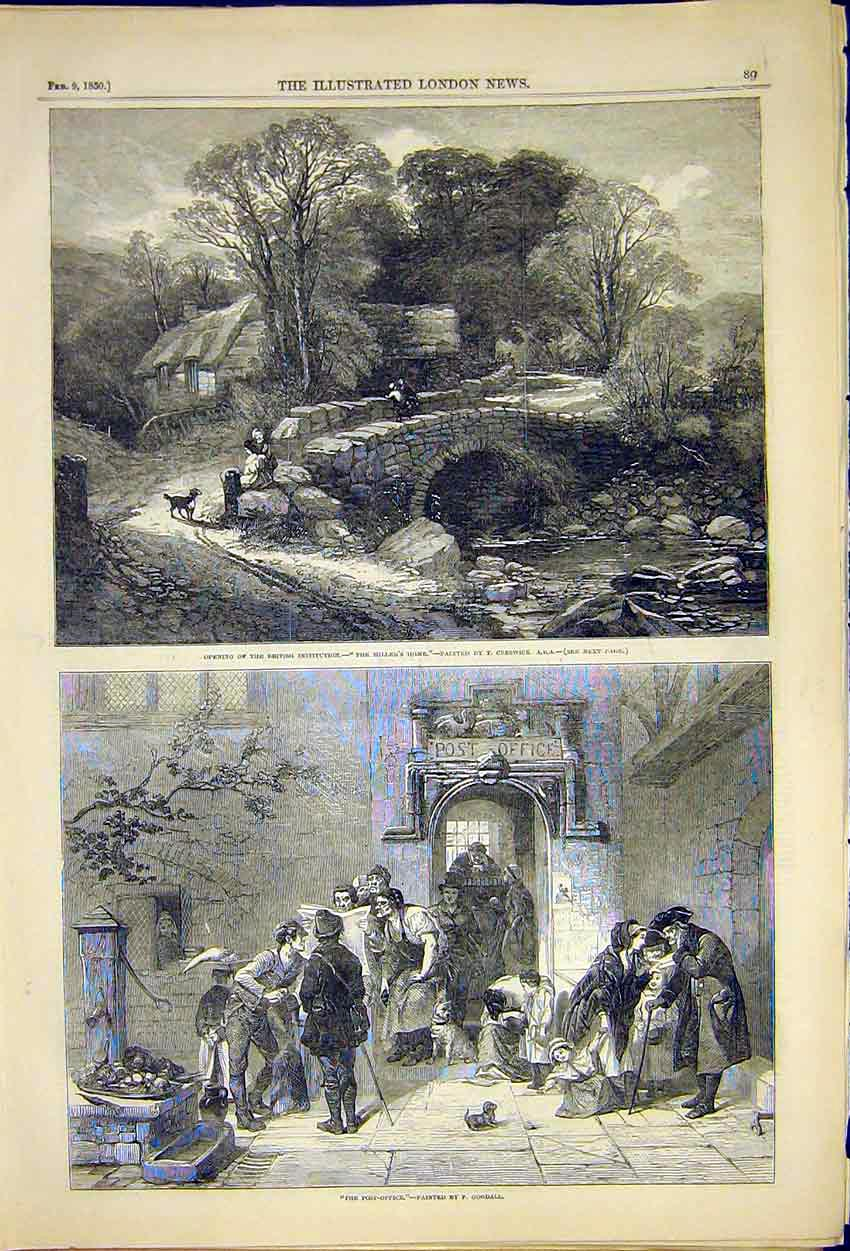 Print Painting Millers Home Creswick Post-Office Goodall 1850 89Ccc0 Old Original