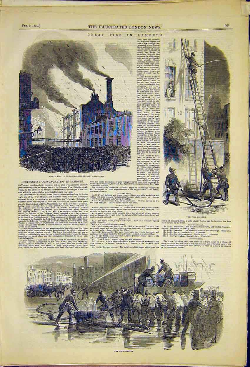 Print Great Fire Guildford Street Lambeth Belvidere Road 1850 93Ccc0 Old Original