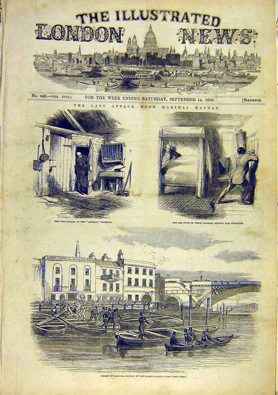 Print Marshall Haynau Escape Police Galley 1850 10Ccc0 Old Original