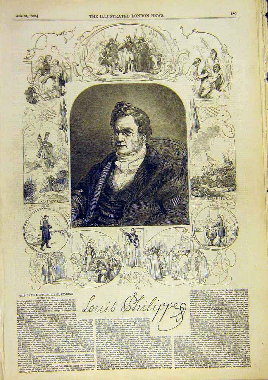 Print Louis-Philippe King French Portrait Sketches 1850 14Ccc0 Old Original