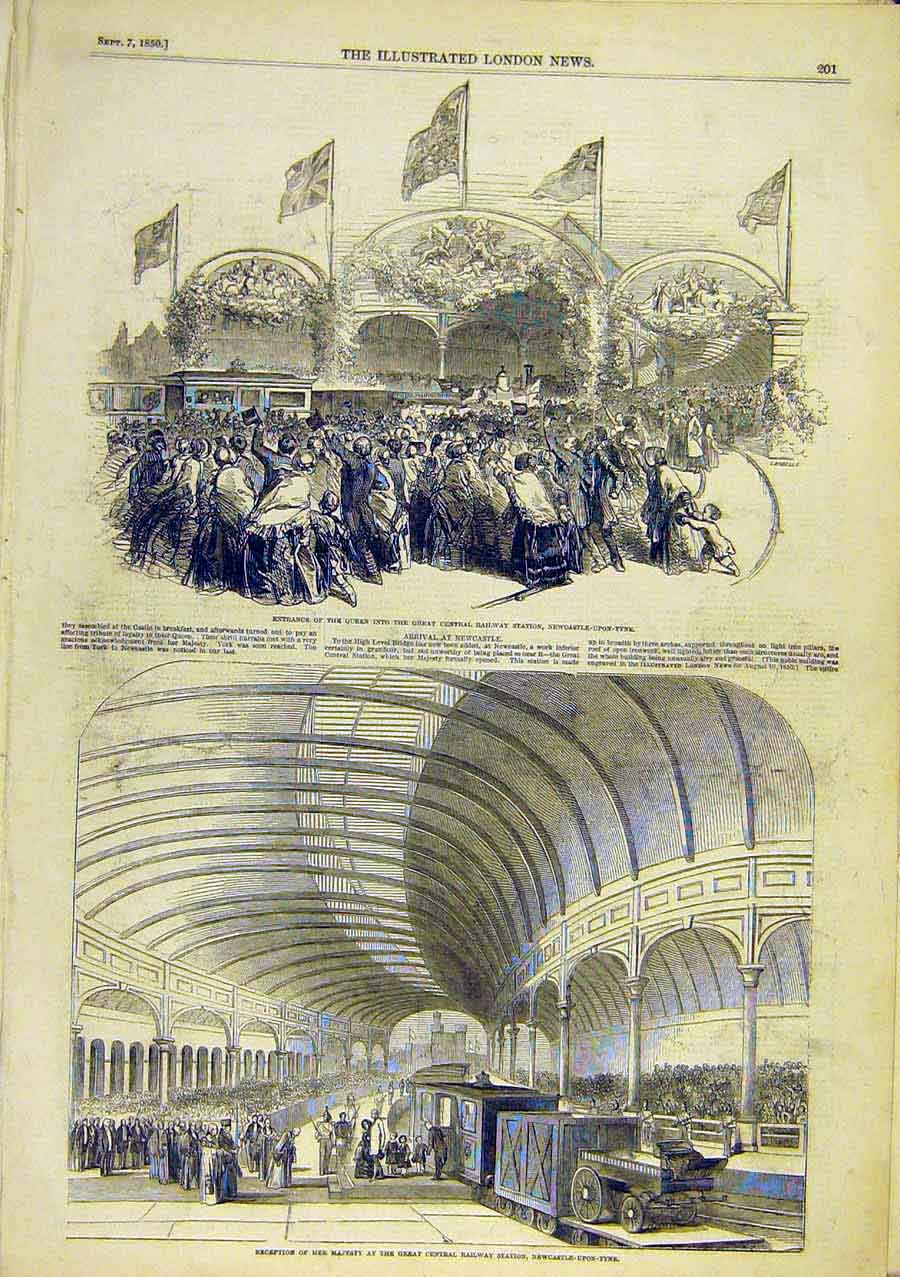 Print Newcastle-Upon-Tyne Railway Station Royal Queen 1850 15Ccc0 Old Original