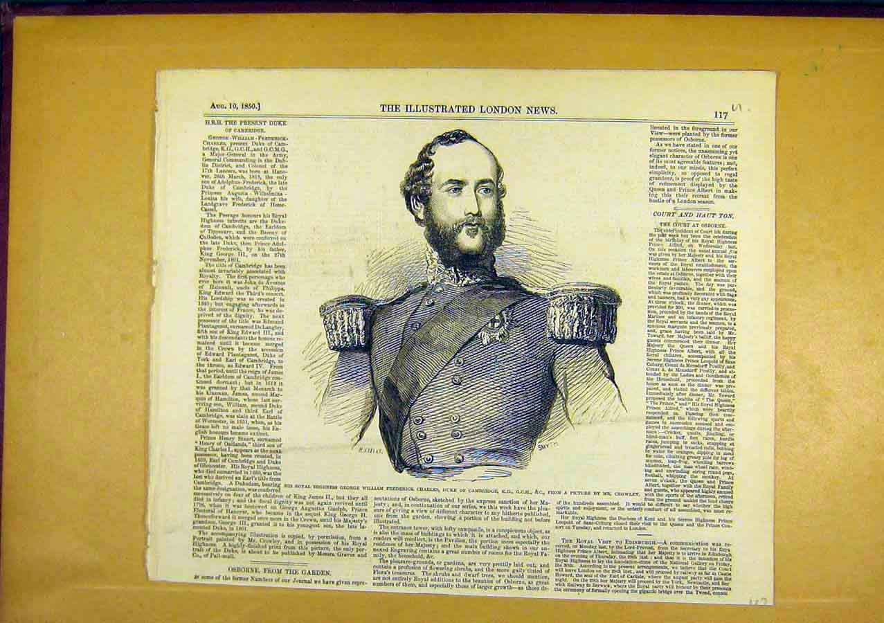 Print Portrait Charles Duke Cambridge 1850 17Uccc0 Old Original