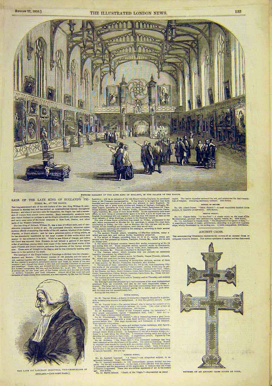 Print Holland Palace Hague Gallery Shadwell Cross Cork 1850 22Ccc0 Old Original