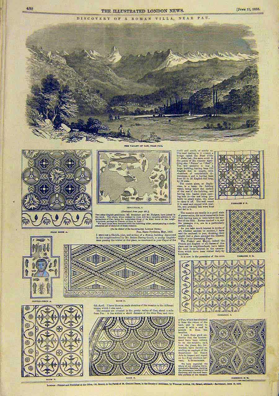 Print Roman Villa Pau Valley Gan Artifacts 1850 30Ccc0 Old Original