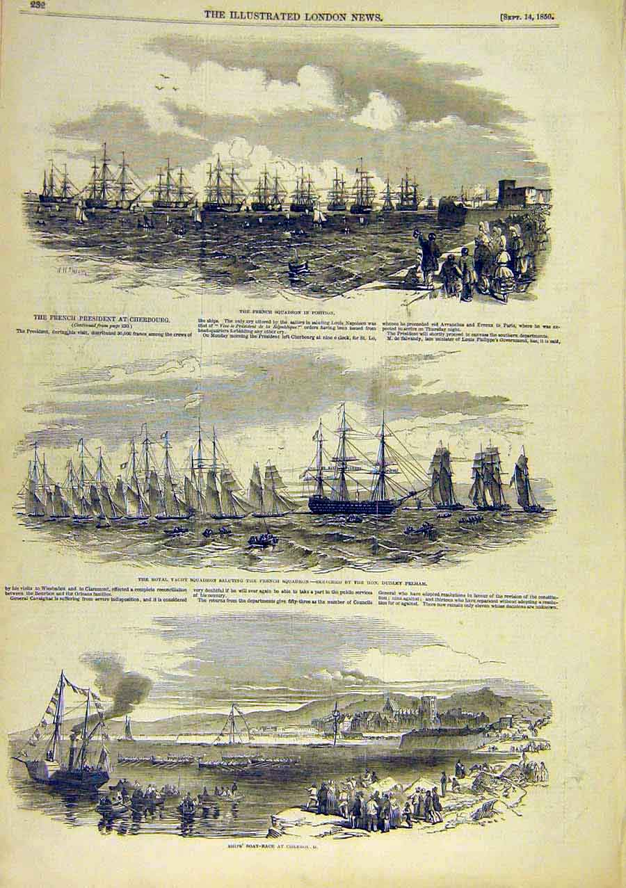 Print French Squadron Royal Yacht Cherbourg Boat-Race 1850 39Ccc0 Old Original