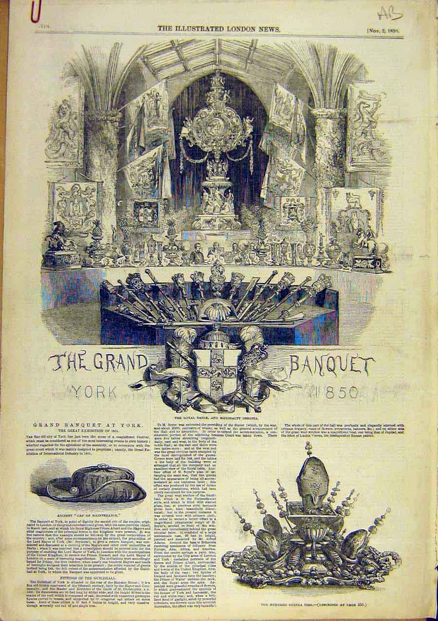 Print Grand-Banquet York Guildhall Cap-Maintenance 1850 41Accc0 Old Original