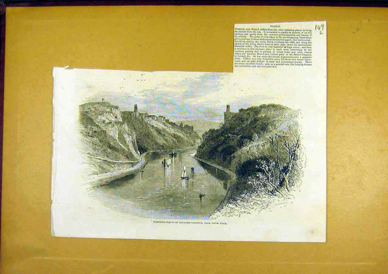 Print Clifton Leigh-Wood England Watering Place 1850 49Lccc0 Old Original