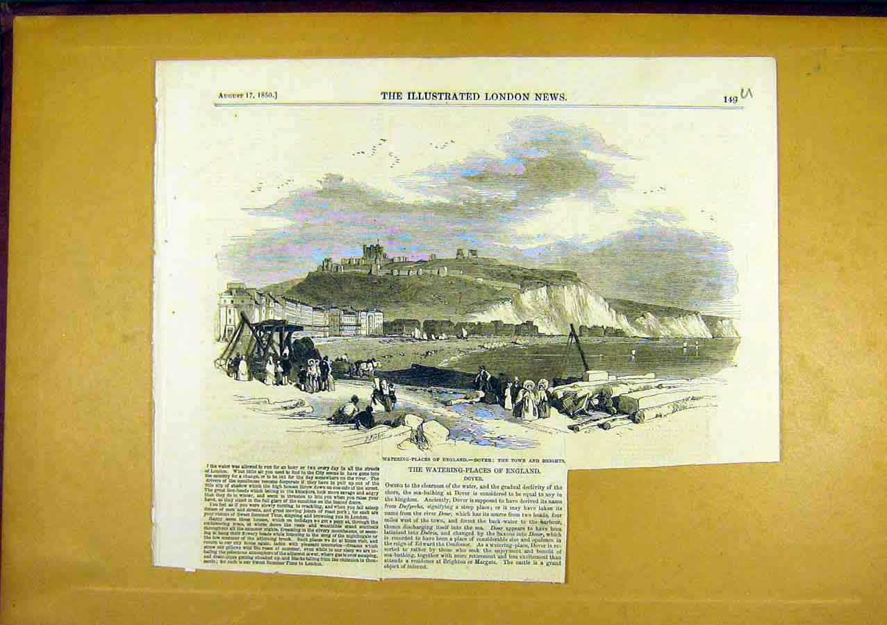 Print Watering-Place Dover England Social History 49Uccc0 Old Original