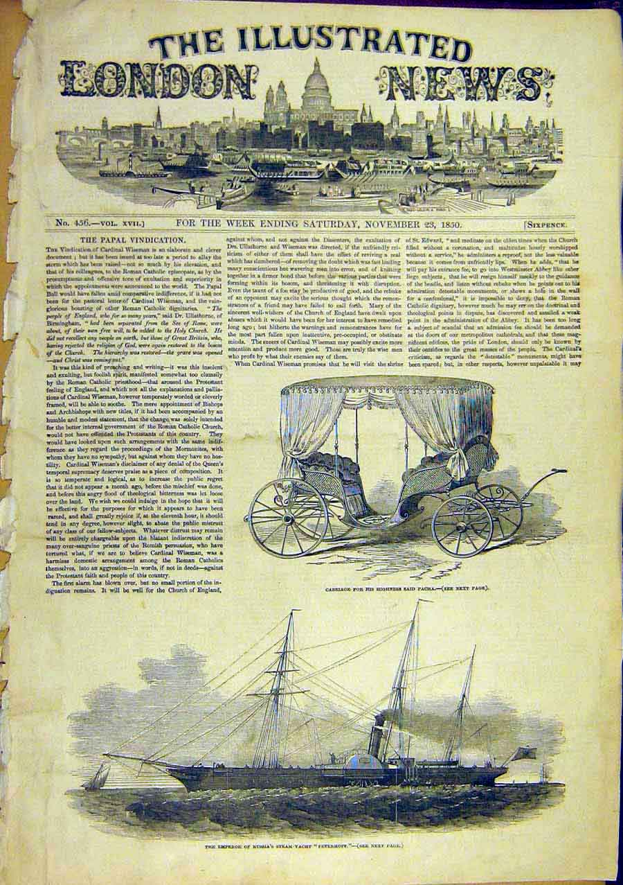 Print Carriage Said-Pacha Steam-Yacht Peterhrussian 1850 53Ccc0 Old Original