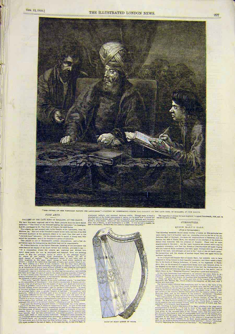 Print Rembrandt Art Vineyard Labourers Harp Queen Mary 1850 65Ccc0 Old Original