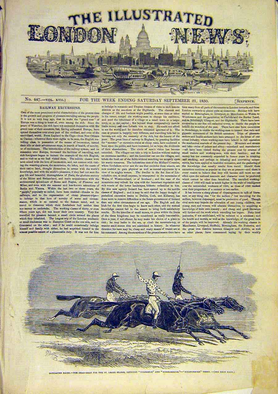 Print Doncaster Races Horse Voltigeur Russborough 1850 66Ccc0 Old Original