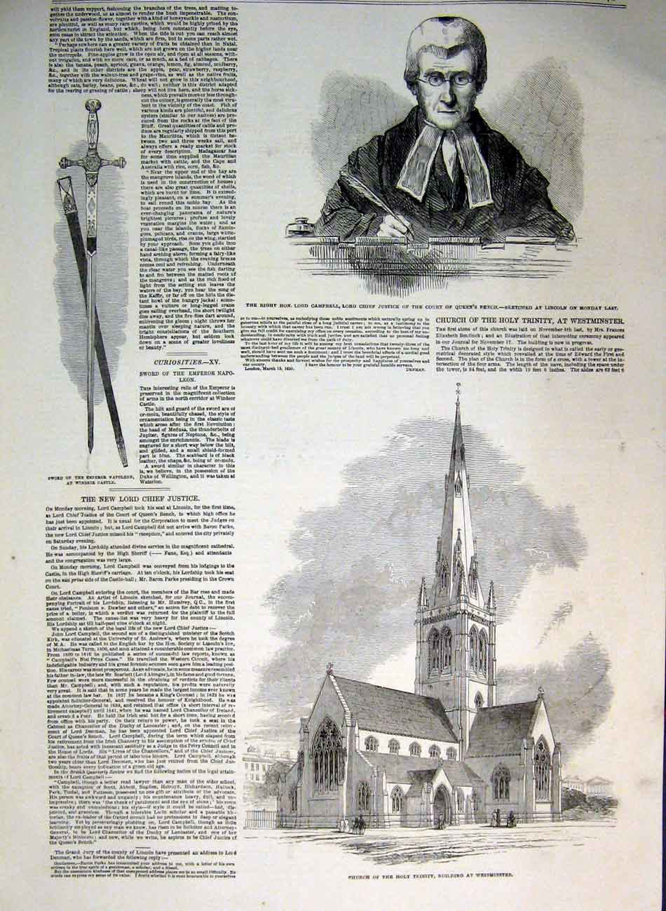 Print Portrait Campbell Holy Trinity Church Westminster 1850 73Ccc0 Old Original