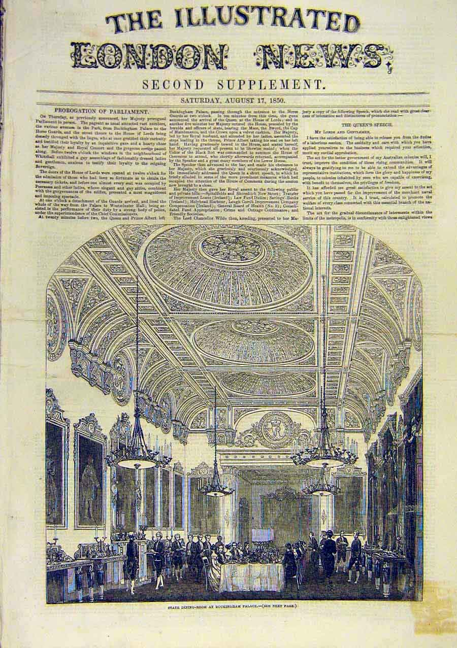 Print State-Dining-Room Buckingham Palace Building 1850 77Ccc0 Old Original