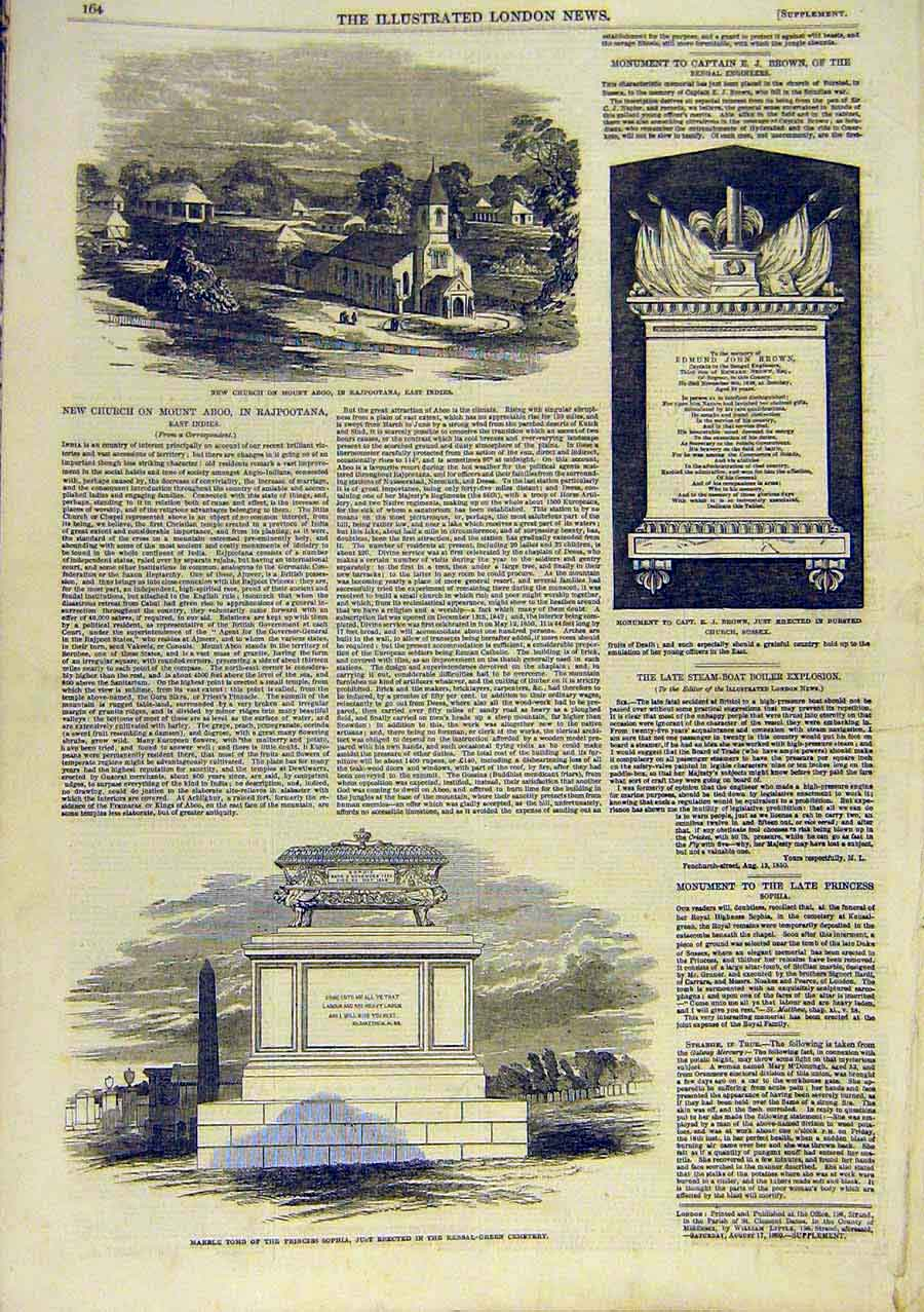 Print Mount Aboo Church Sophia Tomb Brown Sussex 1850 78Ccc0 Old Original
