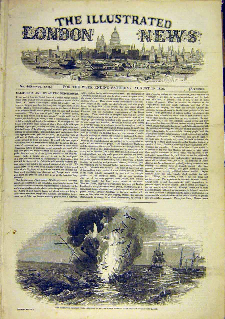 Print Schleswig-Holstein War Screw-Steamer Von-Der-Tan 1850 82Ccc0 Old Original