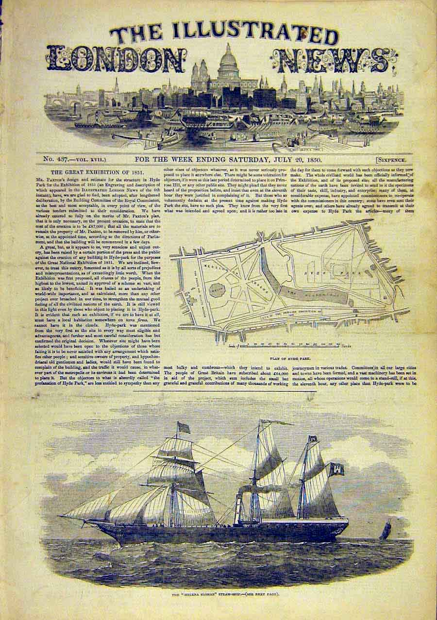 Print Plan Hyde-Park Helena-Sloman Steam-Ship 1850 91Ccc0 Old Original