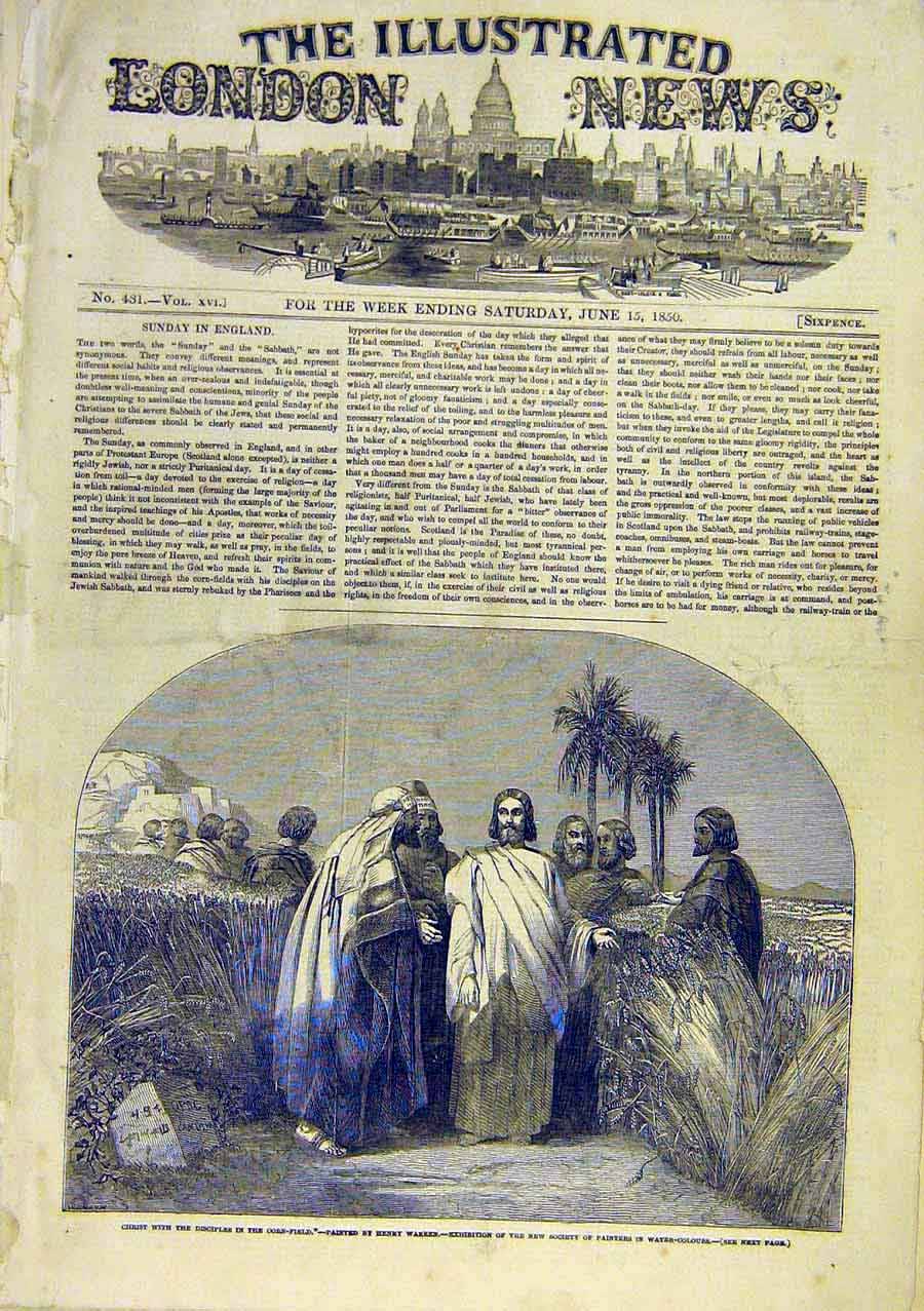 Print Christ Disciples Religious Warren Corn-Field 1850 02Ccc0 Old Original