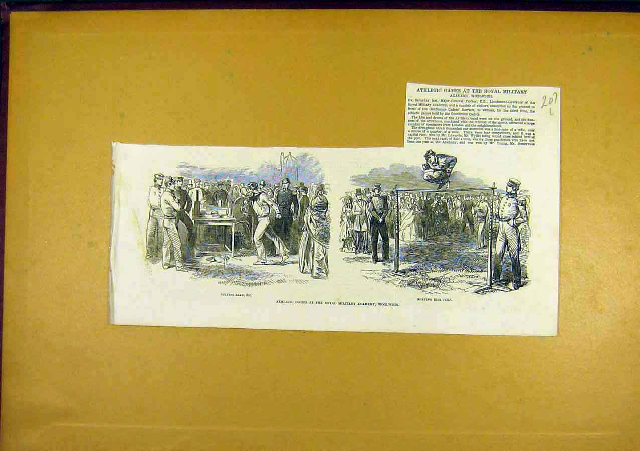 Print Athletic Games Sport Military Woolwich 1850 07Lccc0 Old Original