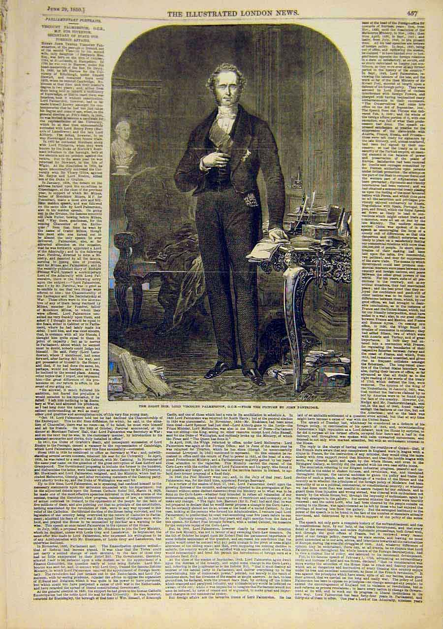 Print Portrait Palmerston Viscount Secretary State 1850 08Ccc0 Old Original