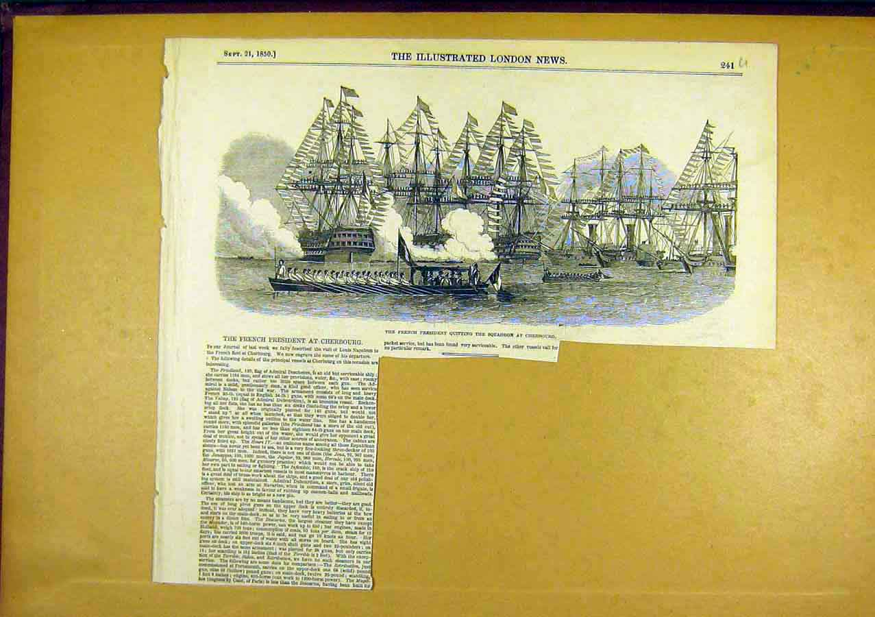 Print French President Cherbourg Squadron Ships Navy 1850 41Uccc0 Old Original