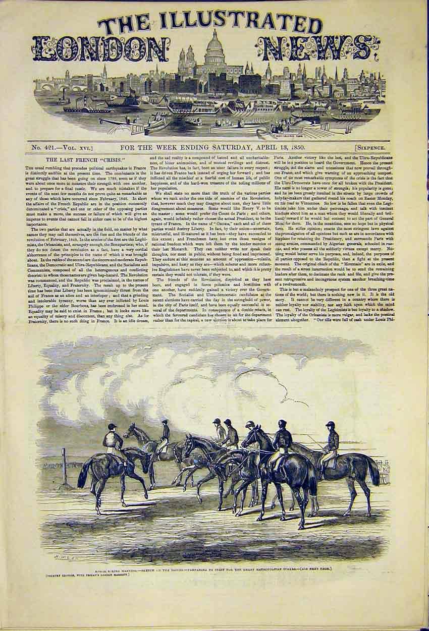 Print Epsom Horse Meeting Downs Metropolitan Stakes 1850 42Ccc0 Old Original