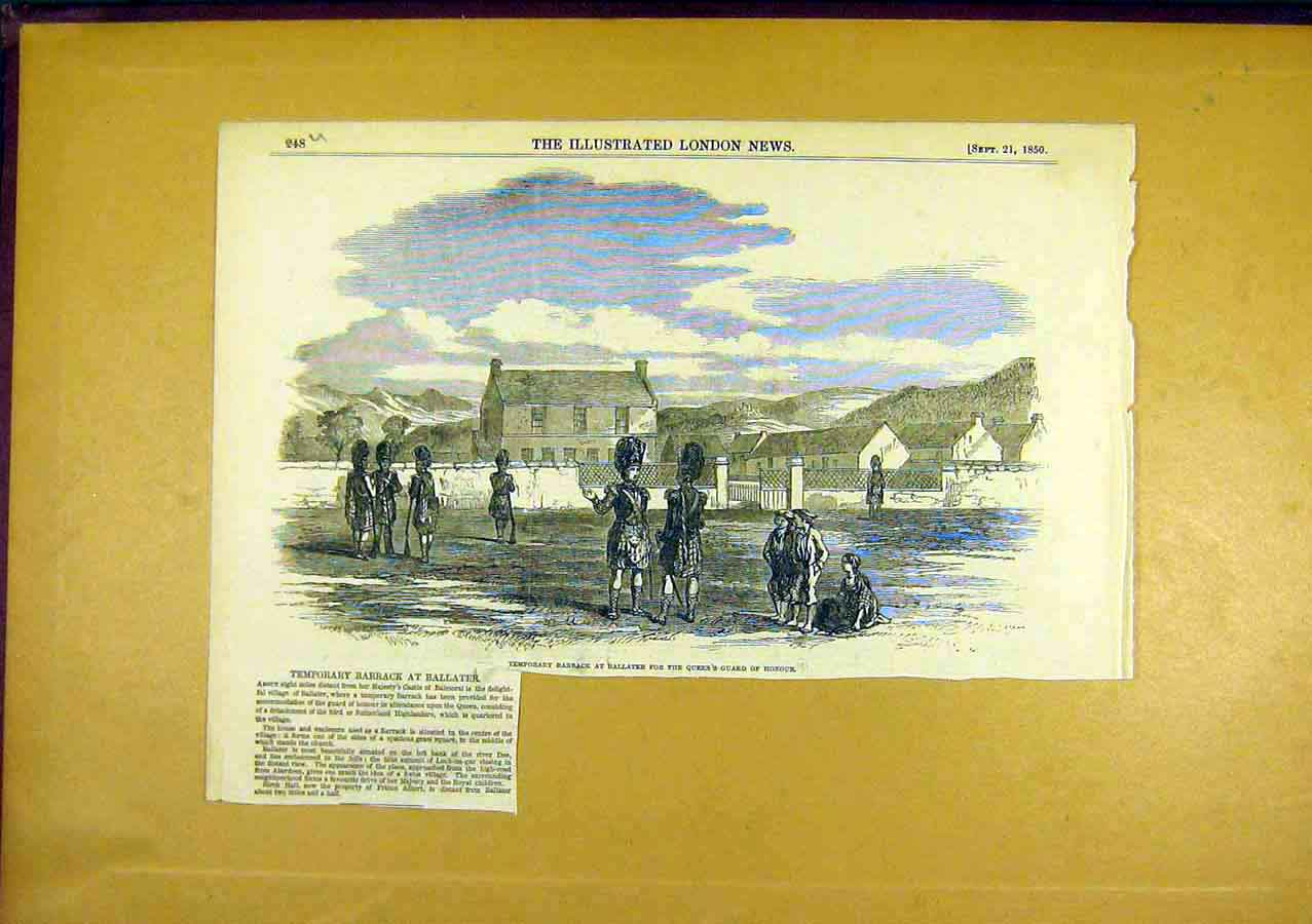 Print Barracks Ballater Queen'S Guard Honour 1850 48Uccc0 Old Original
