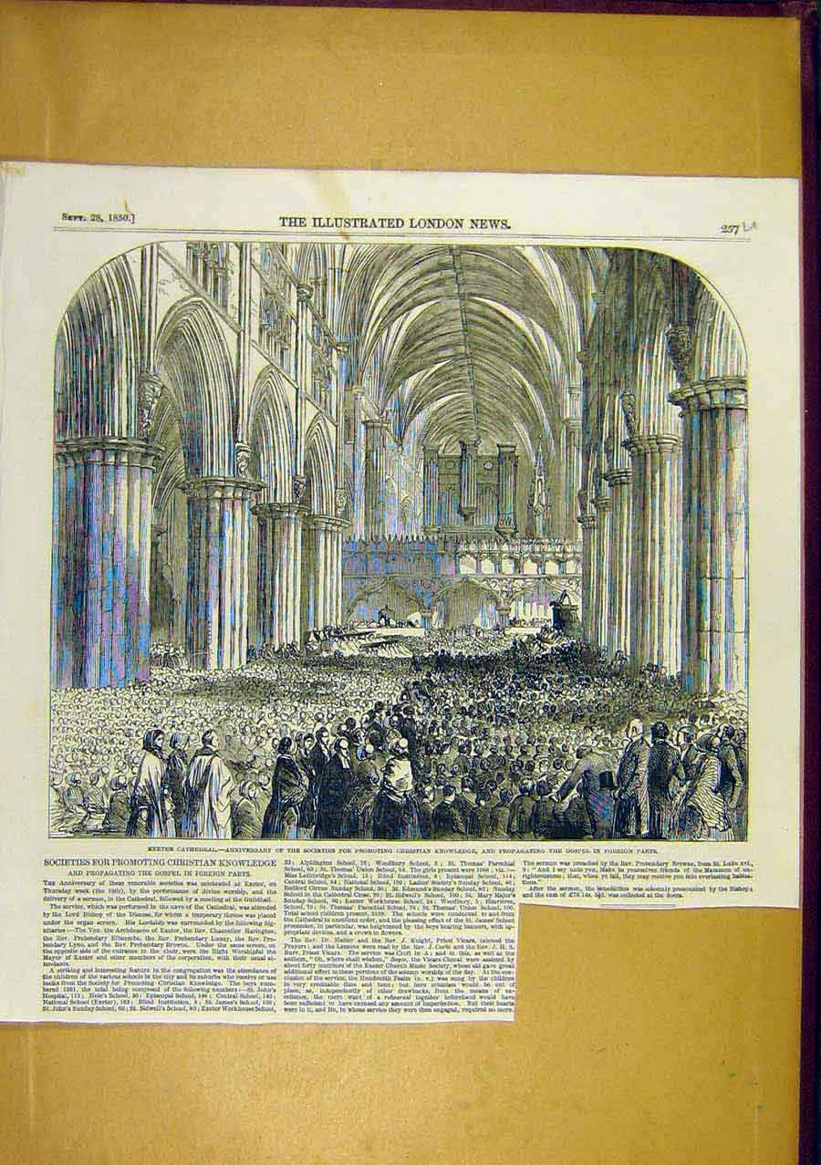 Print Exeter Cathedral Christian Gospel 1850 57Uccc0 Old Original