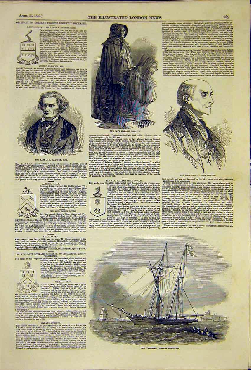 Print Aborian Orange Schooner Portrait Calhoun Bowles 1850 69Ccc0 Old Original