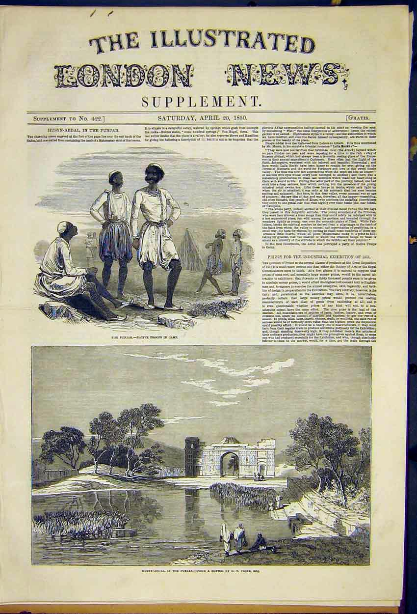 Print Husyn-Abdal Punjab Troops Camp Native Vigne 1850 74Ccc0 Old Original