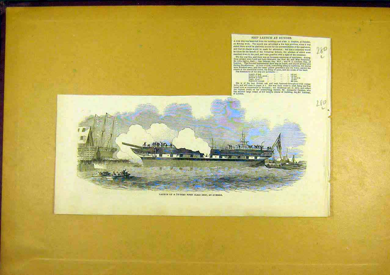Print First-Class Ship Dundee Launch 1850 80Lccc0 Old Original