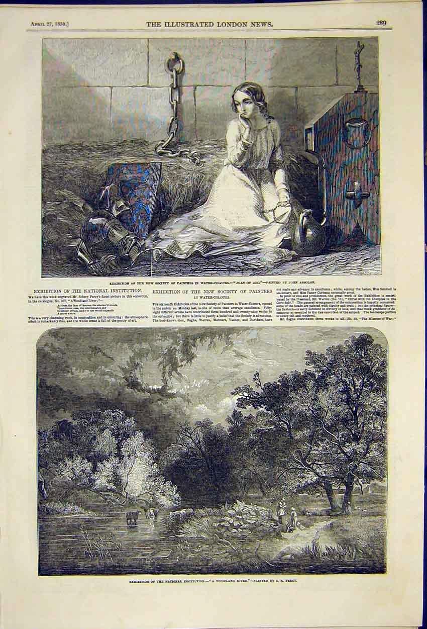 Print Painting Joan Arc Absolon Woodland River Percy 1850 89Ccc0 Old Original