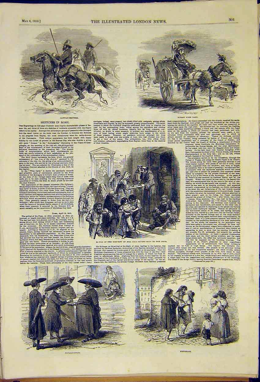 Print Rome Sketches Cattle Drovers Monks Wine Cart 1850 01Ccc0 Old Original
