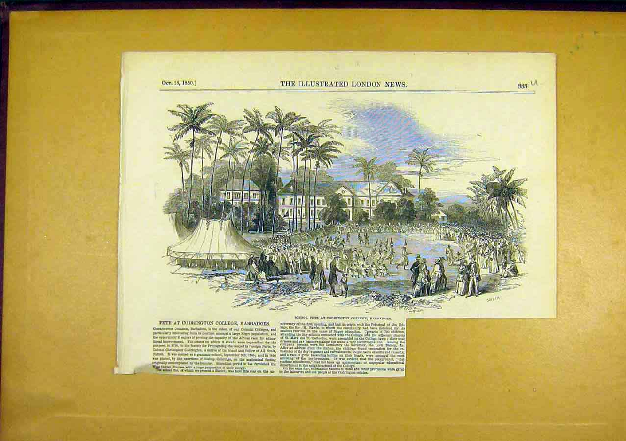 Print School Fete Codrington Barbadoes 1850 33Uccc0 Old Original