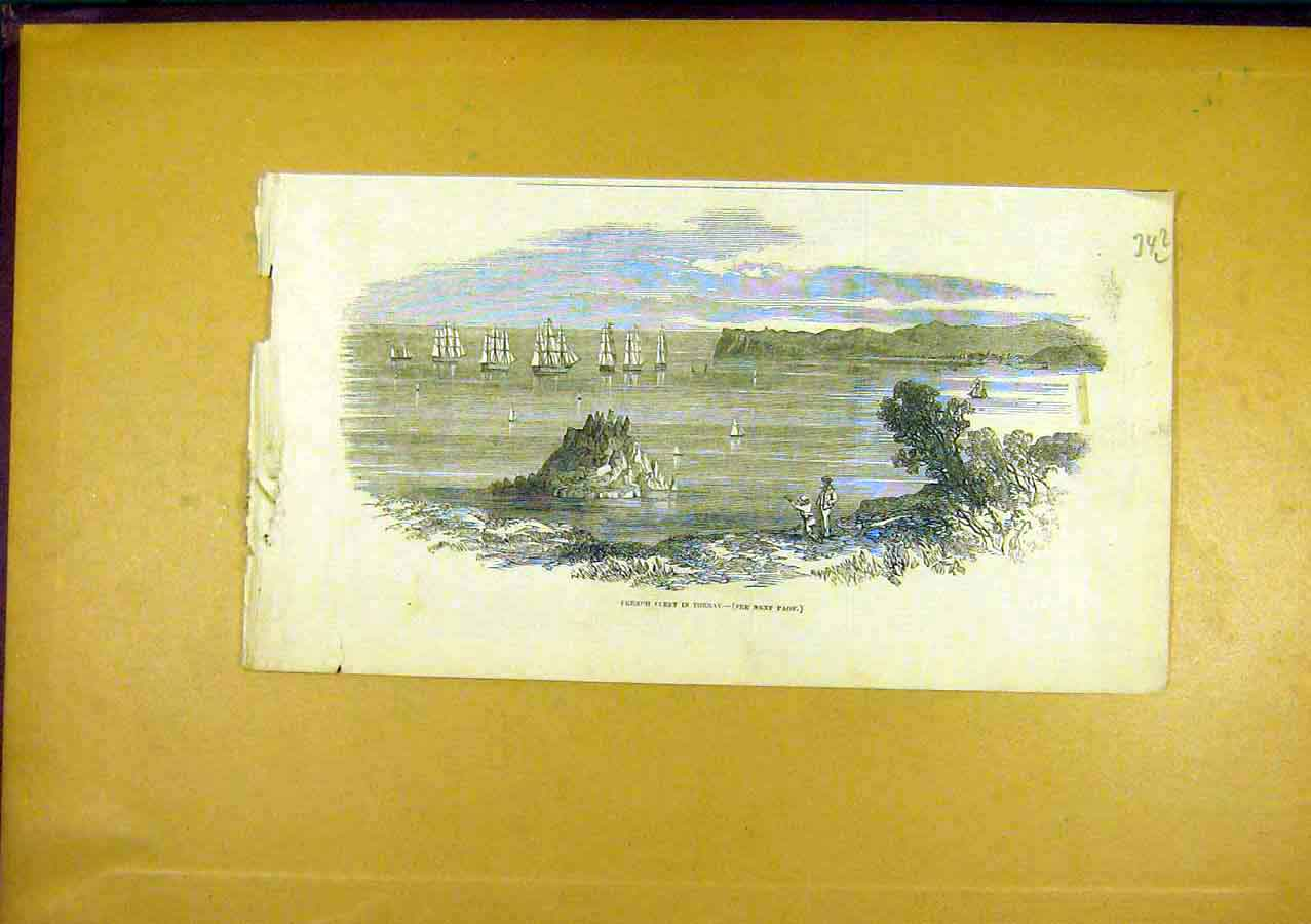 Print French Fleet Torbay History 1850 42Lccc0 Old Original