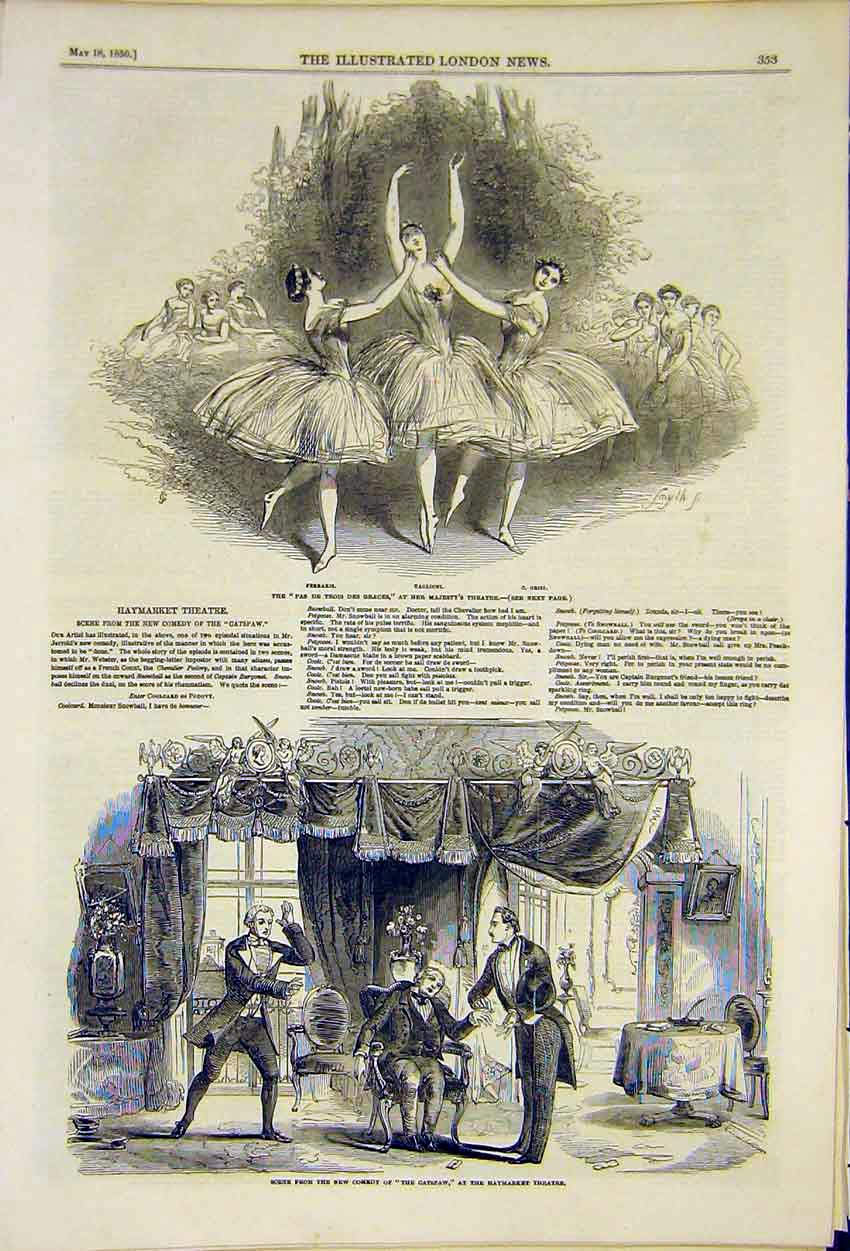Print Haymarket Theatre Catspaw Play Majesty'S Scenes 1850 53Ccc0 Old Original