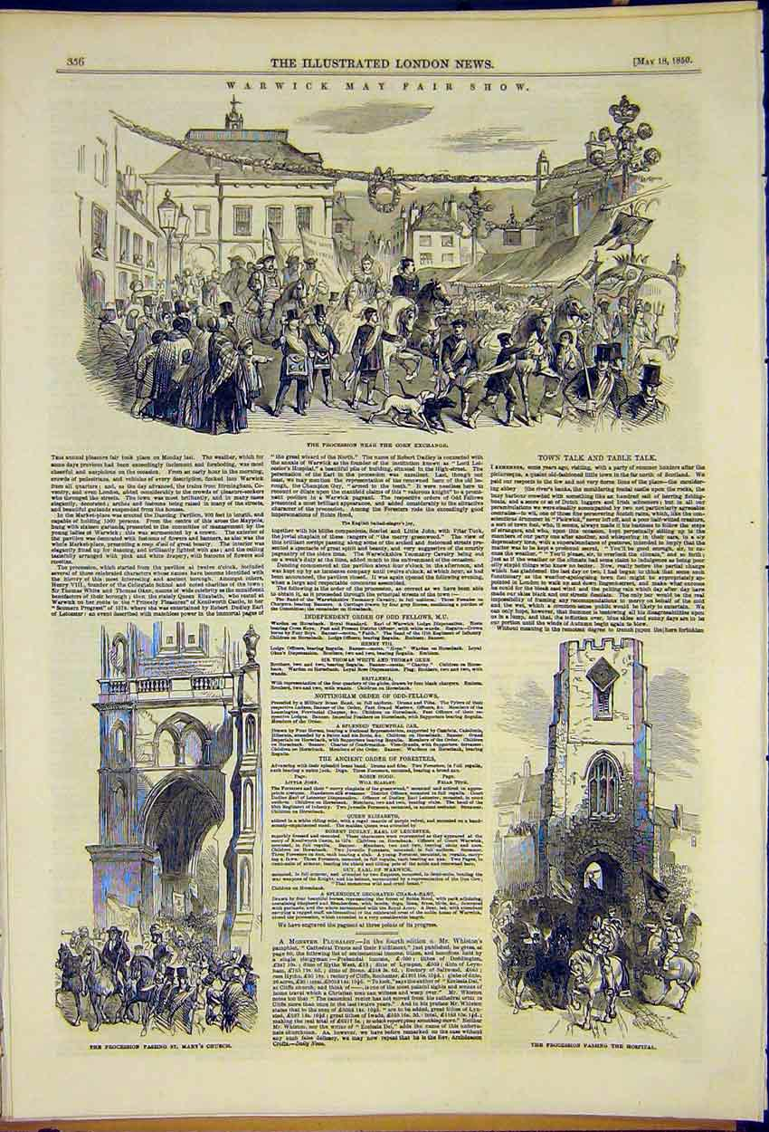 Print Warwick May Fair Show Procession Street Scenes 1850 56Ccc0 Old Original