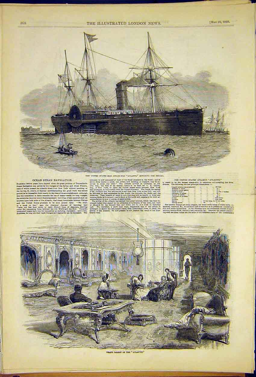 Print Ocean Steam Navigation Usa Ship Mail Atlantic Mersey 68Ccc0 Old Original