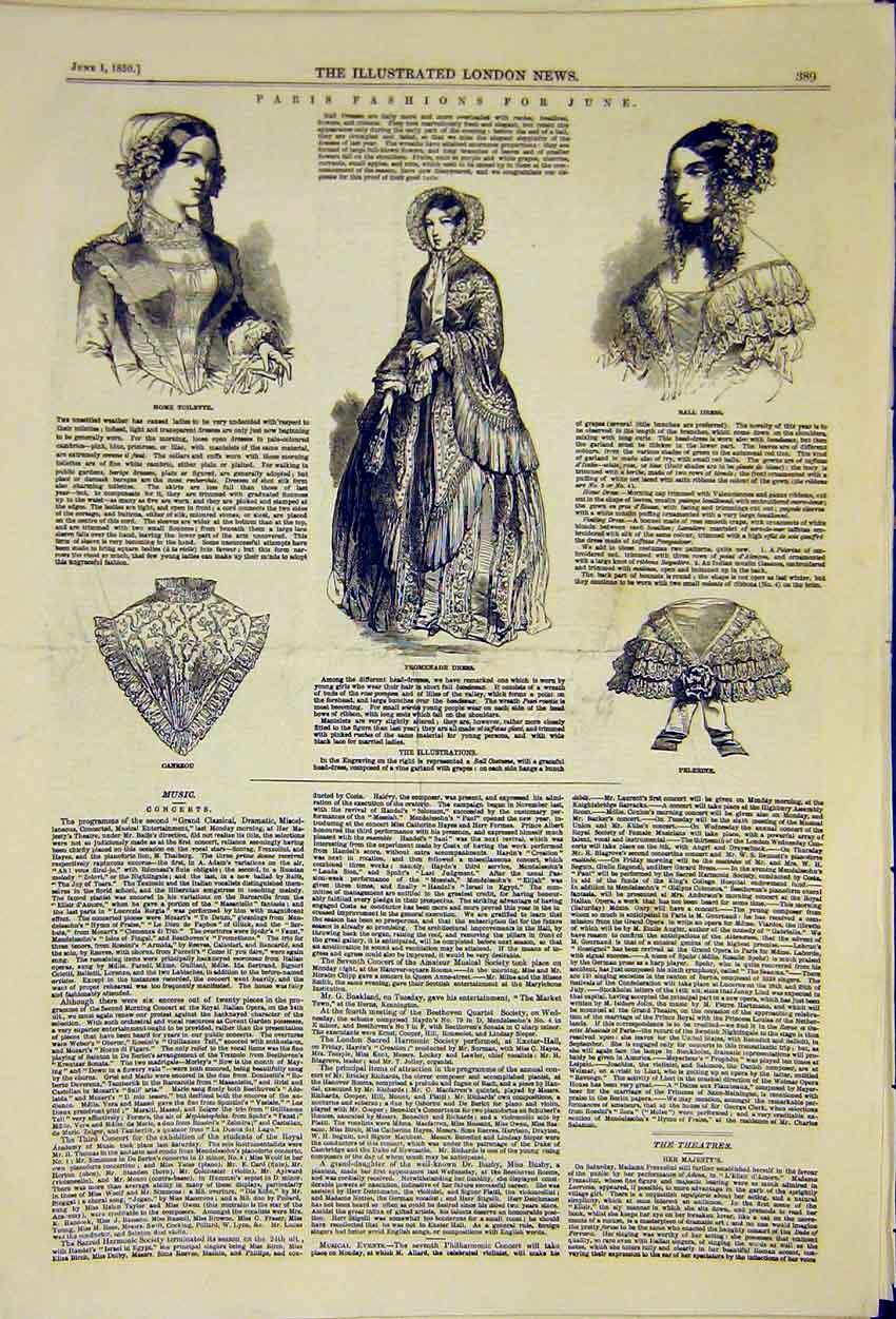 Print Paris Fashion June Ladies Toilette Promenade Ball 1850 89Ccc0 Old Original
