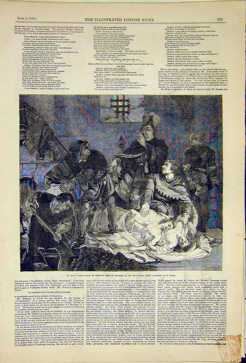 Print Painting Burial Son'S Edward Iv Poetry Poem 1850 97Ccc0 Old Original