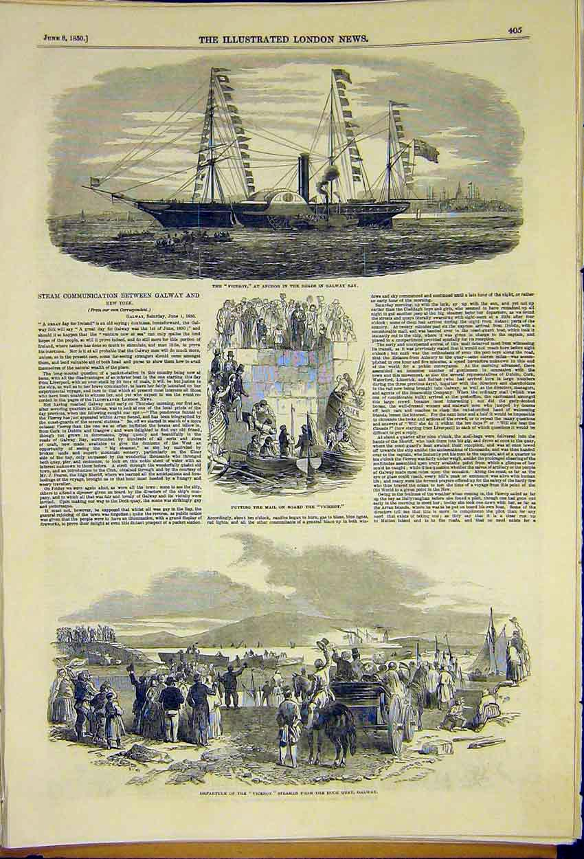 Print Viceroy Steam Communication Galway New York 1850 05Ccc0 Old Original