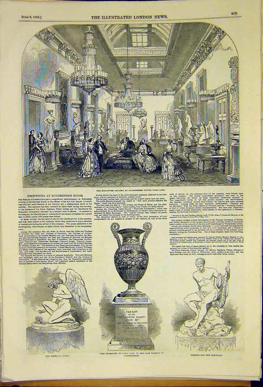 Print Sculpture Gallery Holdernesse House Park-Lane 1850 09Ccc0 Old Original
