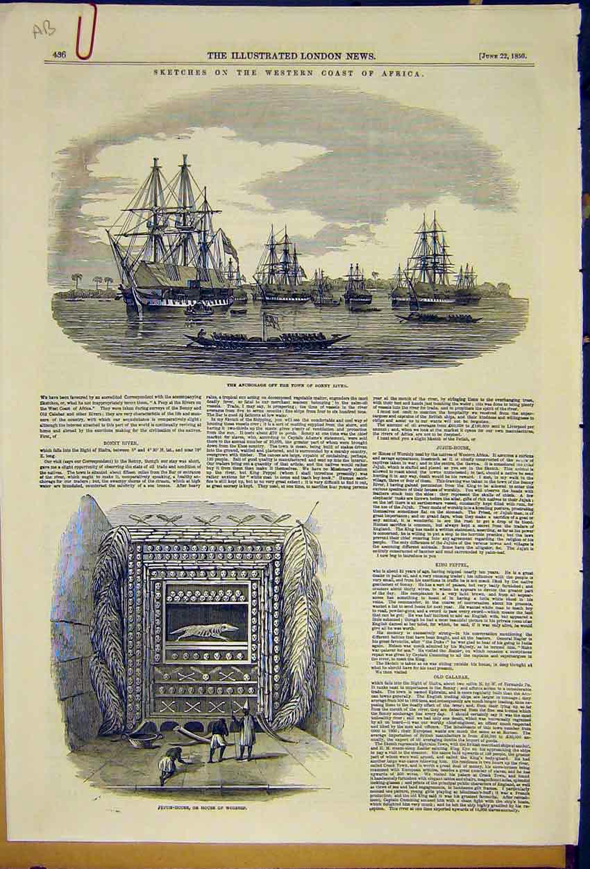 Print Bonny River Ship Jujuh-House Worship King Peppel 1850 36Accc0 Old Original